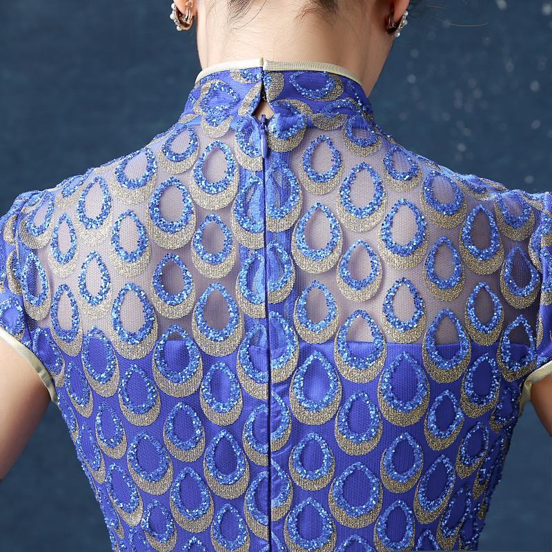 wanita biru panjang penuh anggun cheongsam elegan shanghai gaun - Pakaian kebangsaan - Foto 4