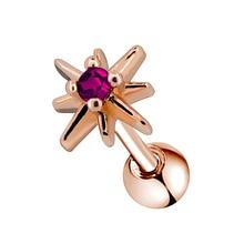Body Punk 16g Ear Cartilage Piercings Earrings Studs Purple CZ Sunburst Shape Helix Tragus Daith Conch Piercing
