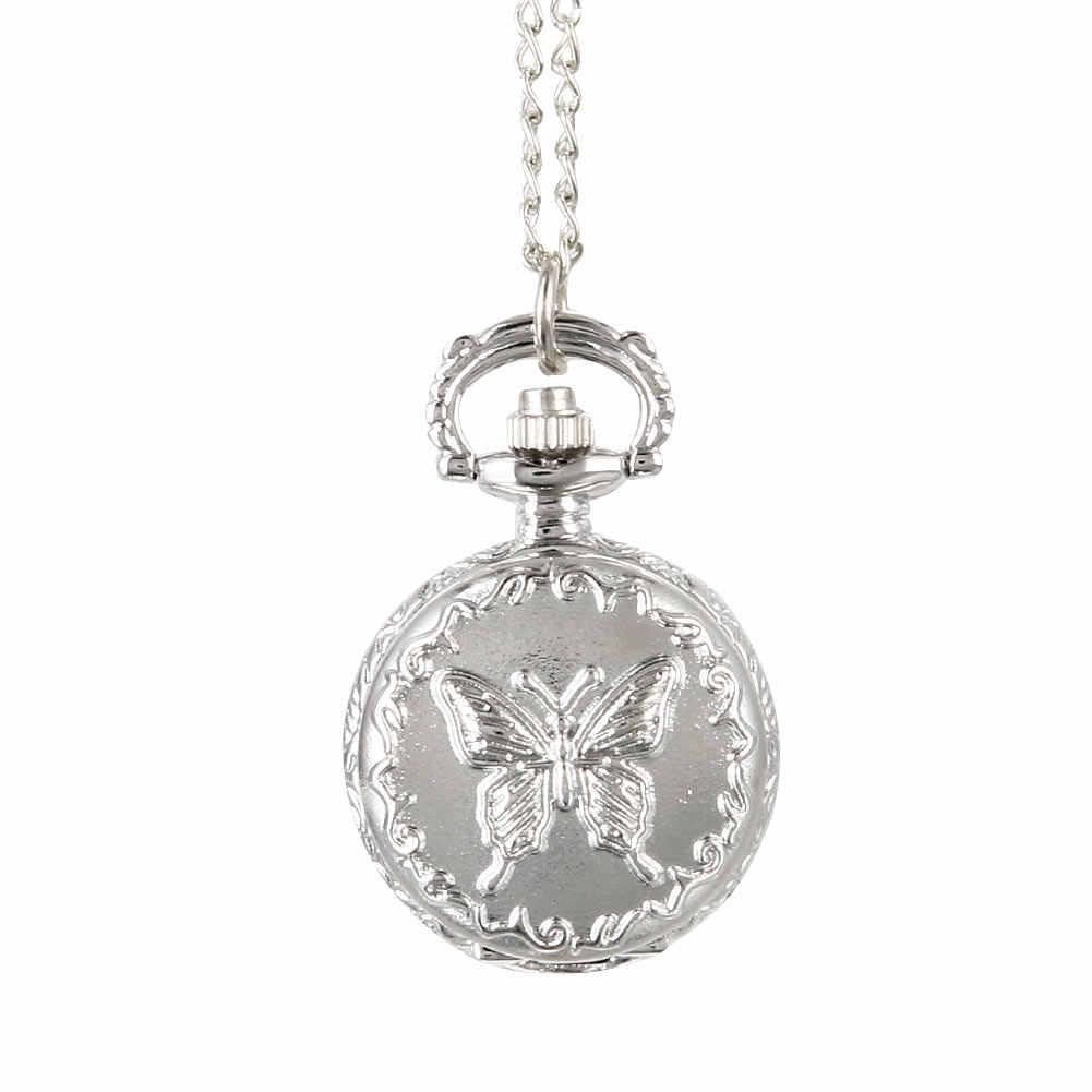 Mode Vintage Quartz montre de poche en alliage fleurs papillon femmes dame filles collier pendentif chandail chaîne horloge cadeaux