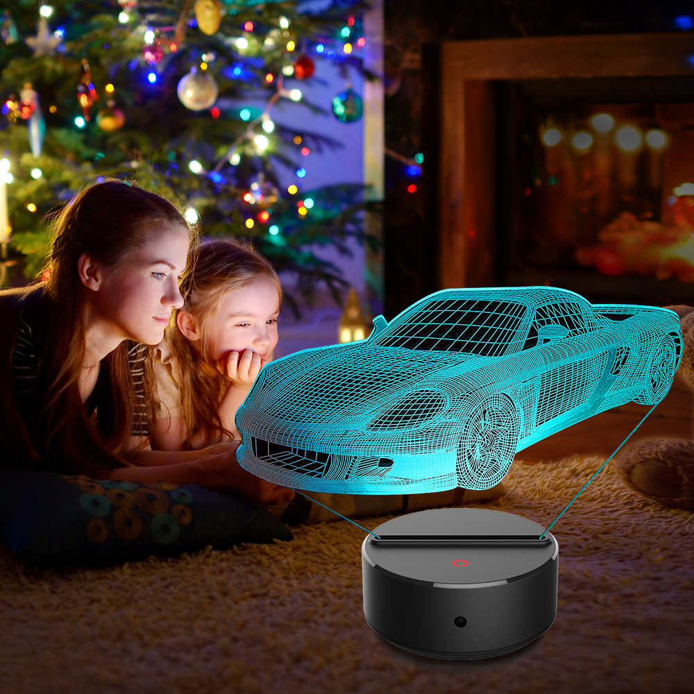 New Sports car 3D LED Night Lamp 7 Colors USB Hologram Decor Lamp Table Desk Lights Birthday Party Gift For Children Friends in LED Night Lights from Lights Lighting