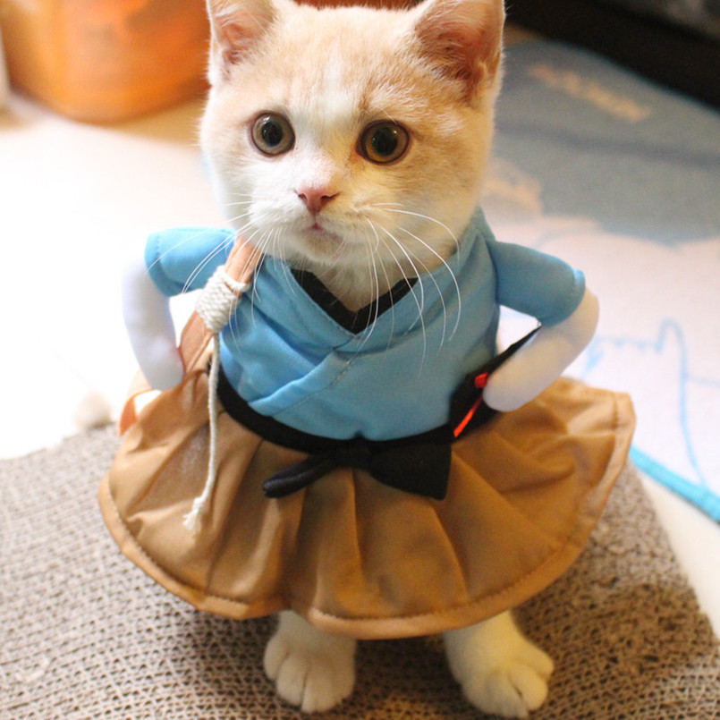 New Funny Cat Costume Uniform Suit Cat Clothes Costume Puppy Clothes Dressing Up Suit Party Clothing For Cat Cosplay Clothes