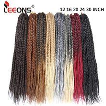 дешево✲  Leeons Вязание крючком Box Плетение Волос 12 16 20 24 30 Дюймов Короткий Средний Длинный Размер