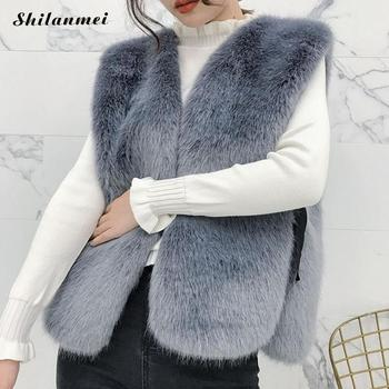 Sleeveless Vest Real Fox Fur Natural Mink Fur Vest Cardigan 2017 New Fashion Winter Warm Women Elegant Fur Jacket Coat Outerwear image