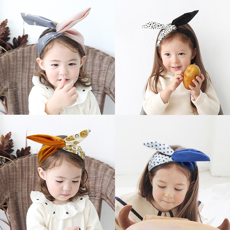 Lovely Baby Girls Bowknot Floral Headband Hairband Rabbit Ear Headwrap Accessory