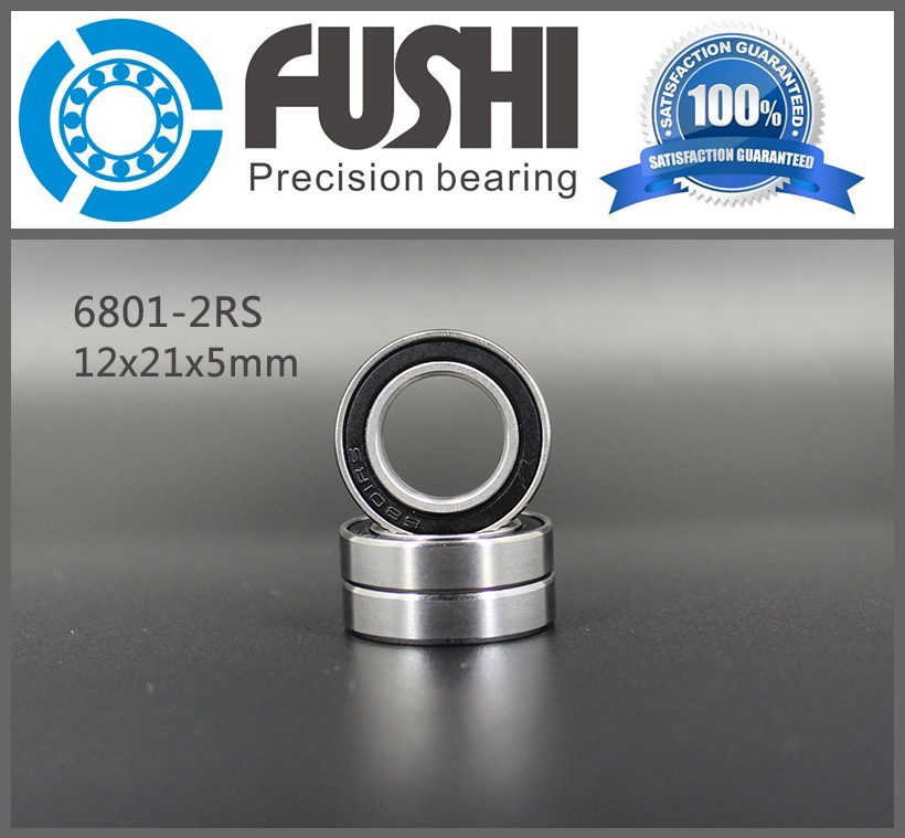 6801 2RS Bearing ABEC-1 (10PCS)  12x21x5 MM Seals 6801RS Thin Section Bearings 61801 RS