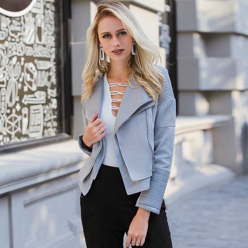 Lily Rosie Girl Gray Zipper Suede Faux Leather Jacket Women Autumn Winter Black Basic Jackets Casual Outwear Slim Coat 2017