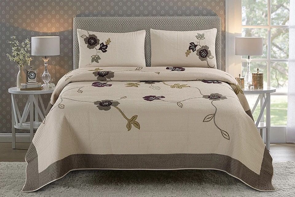 Image result for KHAKI EMBROIDERED BEDSPREAD