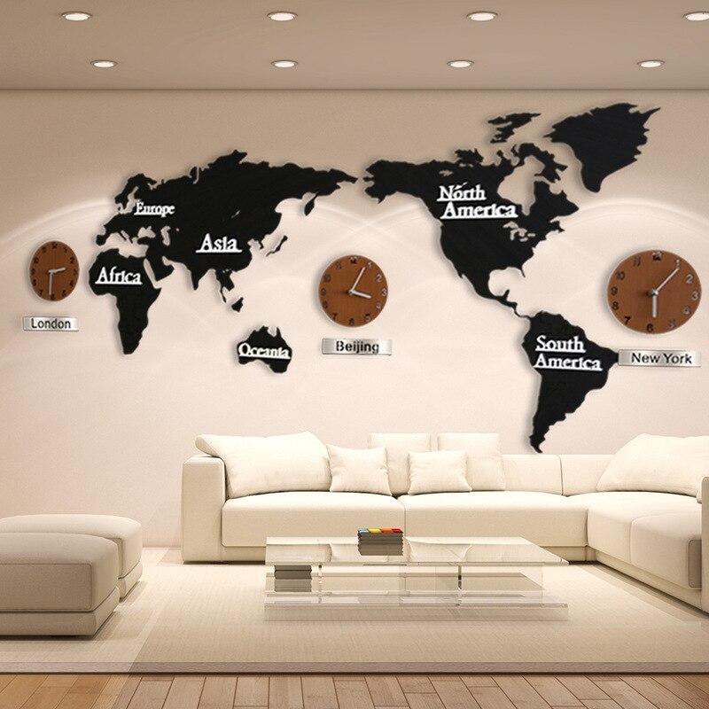 3D carte du monde grande horloge murale bricolage en bois MDF numérique horloge murale en bois montre moderne Style européen rond muet relogio de parede