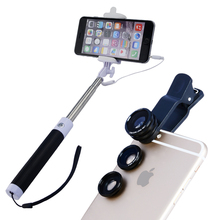 Camera Lens Kit with Extendable Self Portrait Cable Selfie Stick Monopod for All Phone APL-96CX3 Free Shipping
