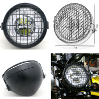 Universal 35W Motorcycle LED Headlamp Motorbike Retro Black Headlight with Net Scooter Refit Head Lamps Motor Moto Front Lights