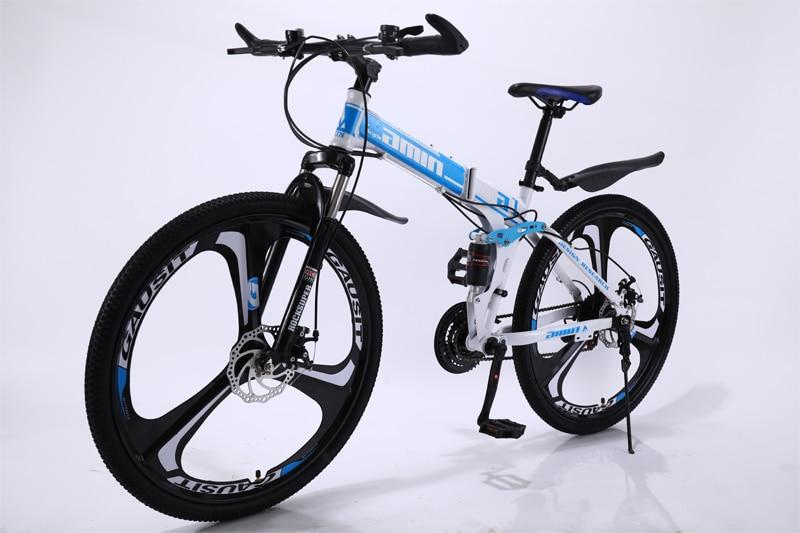 24 26inch folding mountain bike 21 speed double damping 6 knife wheel and 3 knife wheel bicycle double disc brakes mountain bike