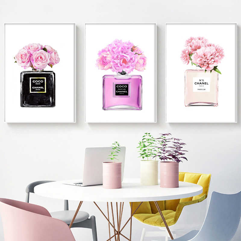 Fashion Wall Art Canvas Painting Flower Pink Coco Perfume Bottle Girls Bedroom Prints And Poster Wall Pictures For Living Room