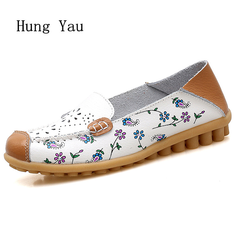 Women Shoes Flats Genuine Leather 2018 Summer Sandals Fashion Flower Hollow Casual Woman Flat Work Slip On Walking LoafersWomen Shoes Flats Genuine Leather 2018 Summer Sandals Fashion Flower Hollow Casual Woman Flat Work Slip On Walking Loafers