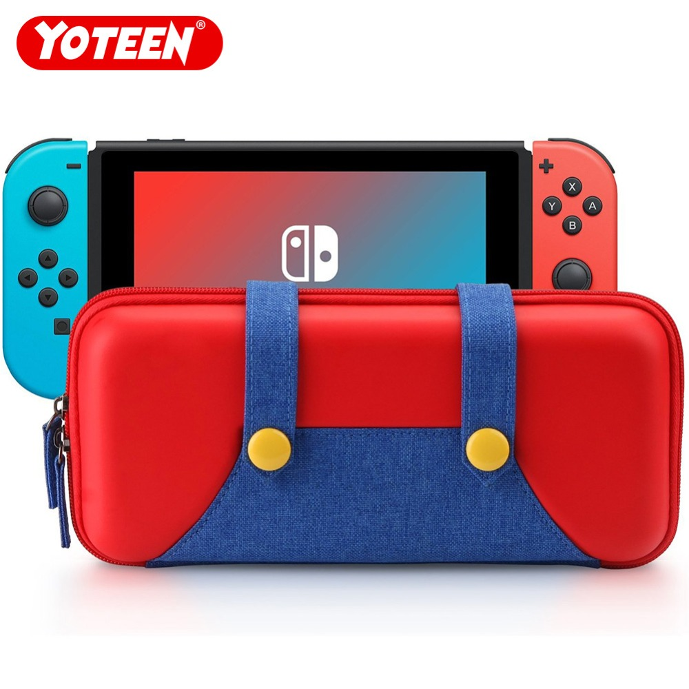Yoteen Travel Bag for Nintend Switch Jeans Style Protective Hard Shell Portable Case 10 Card Slots universal wallet style pu protective case w card slots strap for iphone 5 4 4s 3gs pink