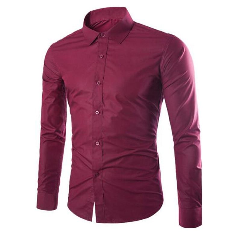 New Brand Fashion Candy Colors Men Shirt Long Sleeve Solid Casual Shirt Christmas Wedding Social Work Men Business Shirt 6492