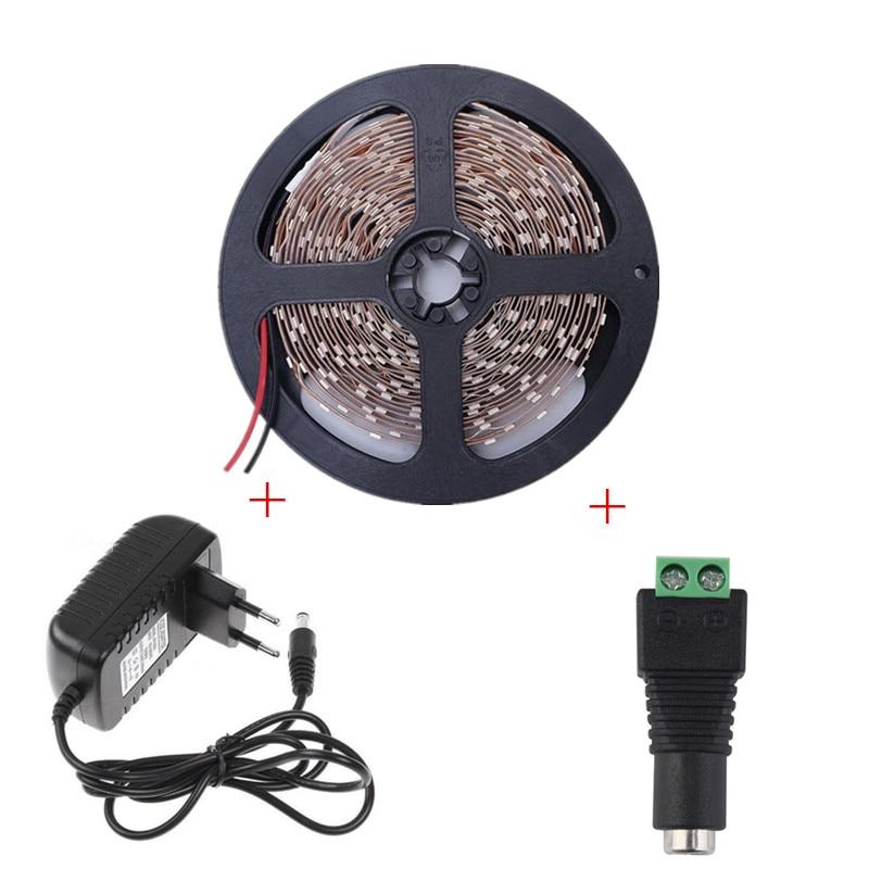 5M Super Bright LED sloksnes gaismas SMD 2835 Ūdensnecaurlaidīgs elastīgs LED sloksnis DC 12V 60leds / m Diode Tape + 12V 2A LED barošanas avots