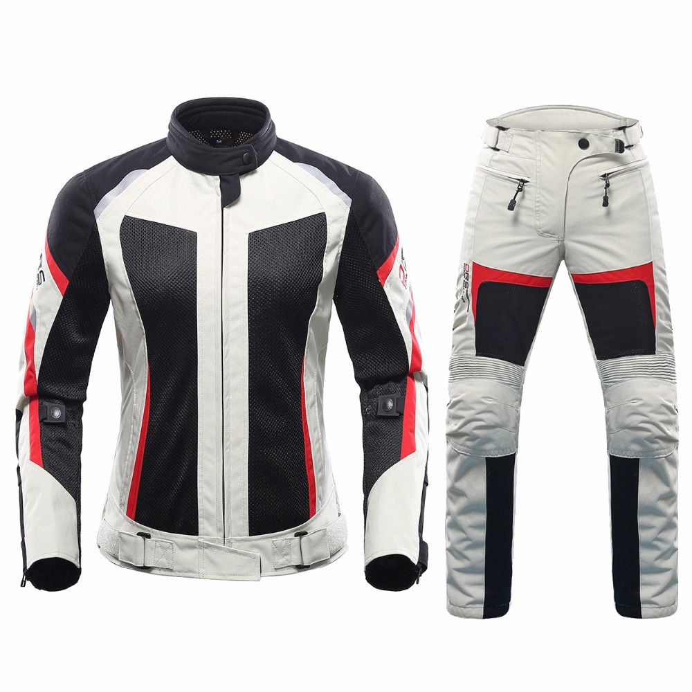 DUHAN Women Motorcycle Suit Summer racing Jacket + Pants Mesh Motocross Gear Riding Clothes new female CE approve rs taichi rsj285 motorcycle drymaster storm jacket racing clothes
