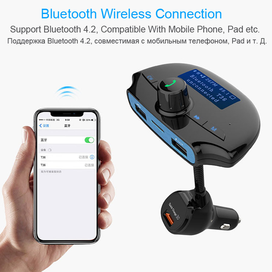 AGETUNR T36 Bluetooth Car Kit Handsfree Set FM Transmitter MP3 Music Player QC 3.0 Quick Charge, 3 USB Ports Support TF & U Disk