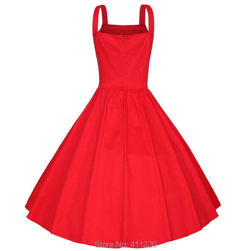 Womens Classy Sleeveless Solid Flare Vintage Dress 1940s 50s 60s Style Pin up Rockabilly Swing Party Dresses Plus Big Sizes (1)