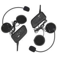 2 Pcs V6 BT Interphone Motorcycle Motorbike 1200M Wireless Bluetooth Helmet Intercom Interfones Headset For 6