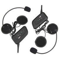 2 Pcs V6 BT Interphone Motorcycle Motorbike 1200M Wireless Bluetooth Helmet Intercom Interfones Headset For 6
