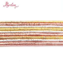 1x4mm Natural Hematite Corrugated Rose Gold Sliver Plated Stone Beads For Jewelry Making DIY Bracelet Loose 15