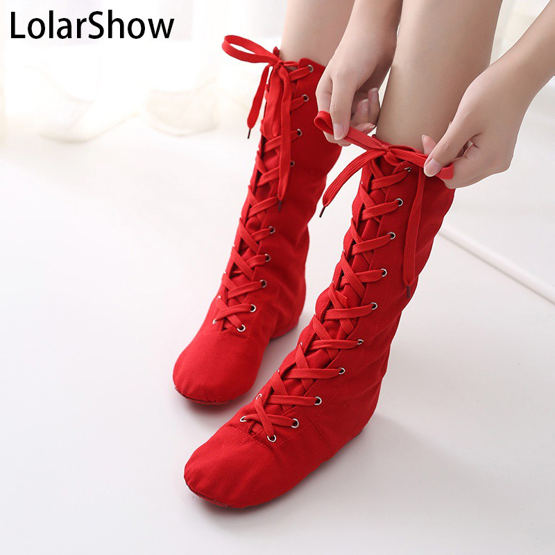 Kids Dance Boots High Quality Canvas And Cotton Fabric Jazz Long Boots Four Colors To Choose Black/red/geen/white Chilren Size