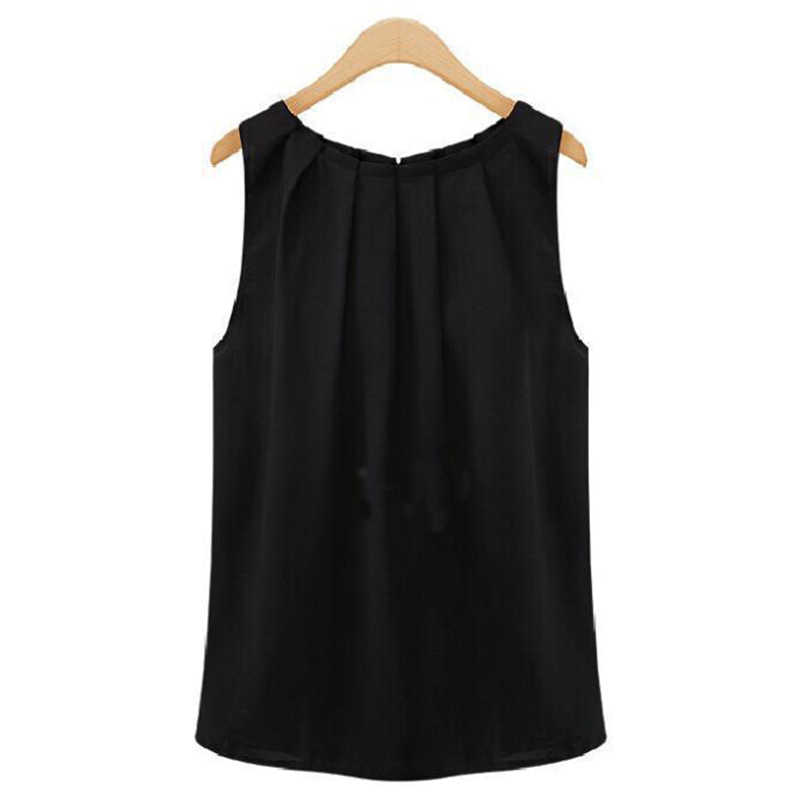 여성 T 셔츠 2020 새로운 패션 솔리드 컬러 민소매 O 넥시 폰 셔츠 한국어 저렴 한 tshirt Vestidos HJY1006