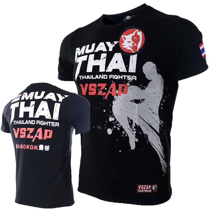 VSZAP Bangkok Boxing MMA T Shirt Gym Tee Shirt Fighting Fighting Martial Arts Fitness Training Muay Thai T Shirt Men Homme