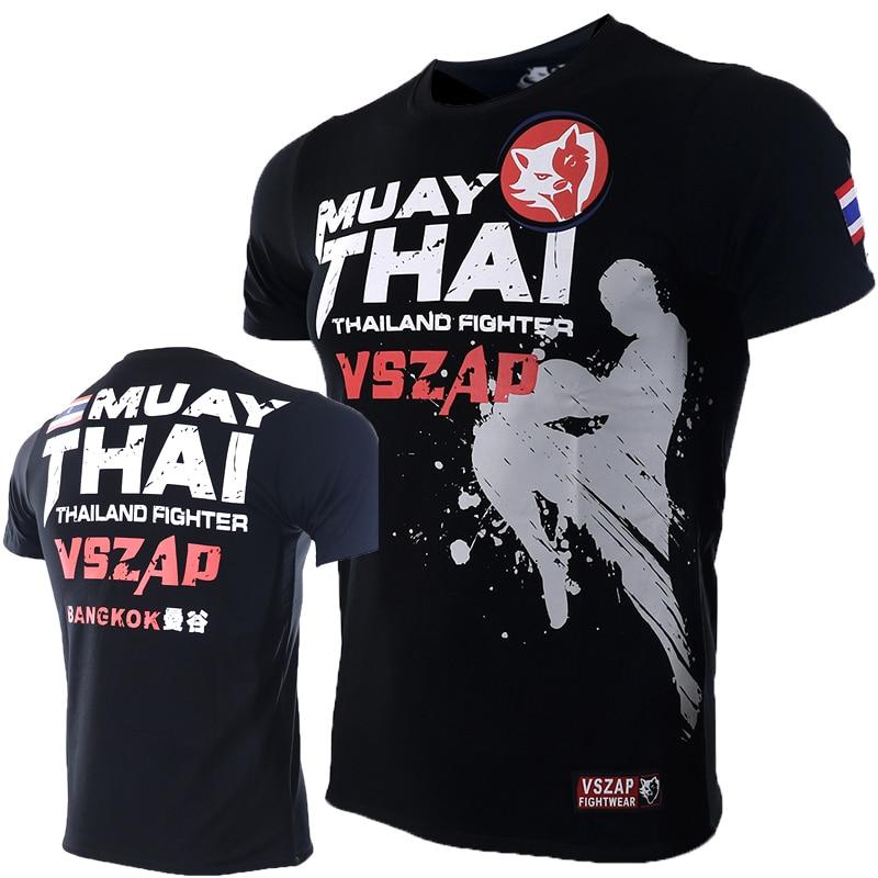 VSZAP XXS-4XL Bangkok Boxing MMA T Shirt Gym Tee Shirt Fighting Fighting Martial Arts Fitness Training Muay Thai TShirt MenHomme