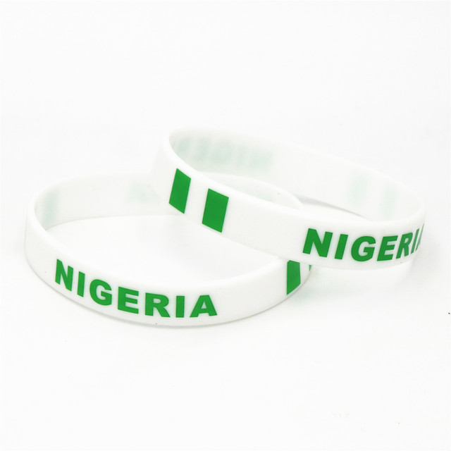 1PC Nigeria Country Flag Silicone Wristband Football Soccer Team Fans Sports Elastic Rubber Bracelets&Bangles Armband SH235