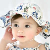 Ideacherry Floral Drucke Baby Mädchen Hüte Sommer Im Freien Infant Baumwolle Sonne Kappe Baby Strand Hüte Kinder Headwear Caps Krempe Sonne kappen