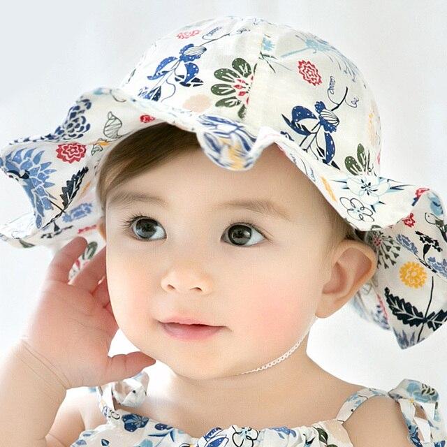 f48bda58e US $3.4 41% OFF|ideacherry Floral Prints Baby Girl Hats Summer Outdoor  Infant Cotton Sun Cap Baby Beach Hats Kids Headwear Caps Brim Sun Caps-in  Hats ...
