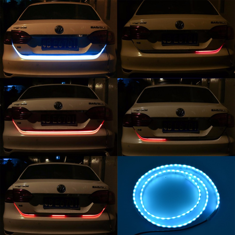 Katur 120CM RGB Colorful Flowing LED Strip Turn Signal Tail Trunk Warning Light For Car Trunk Dynamic Blinkers Car Styling