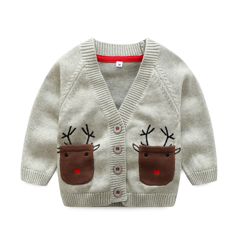 New Spring Christmas Beer Sweater for Boy V-Neck Full Sleeve kids Cardigan Baby Boy Clothes For 18M-5Y