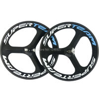 SUPERTEAM Chinese Full Carbon Fibre Road Bike Tri Spoke Carbon Wheelset Clincher 70mm 3 Spoke Wheel Bicycle Wheels