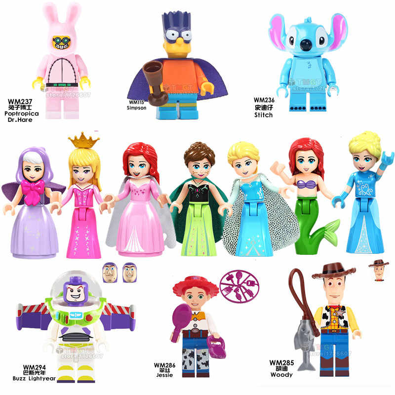 Single toy story Buck Caboom Gaby Baby Stitch Girls friends Princess Elsa Pumping Action Building Blocks toys for children gifts
