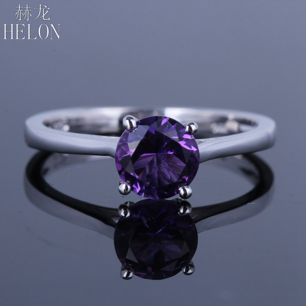 HELON 6.5mm Round Cut 100% Genuine Amethyst Solid 14K White Gold Engagement Wedding Ring Gemstone Stylish Women Fine Jewelry stylish women s solid color pleated culotte