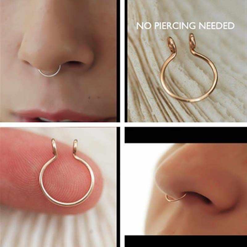 U Shaped Fake Nose Ring Hoop Septum Rings Nose Piercing Fake