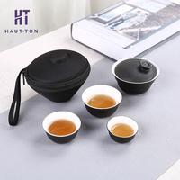 Coarse Pottery Celadon Tea Set Antique Ice Crack Tea Set Travel Teaware Small Sets
