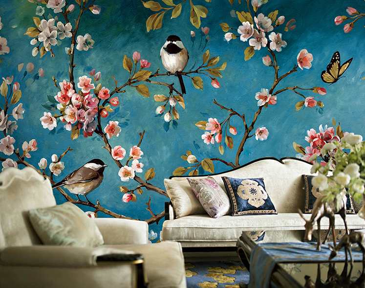Hand painted oil painting style wallpaper Chinese flowers and birds retro living room TV background wallpaper larts floral thick painted knife tress hand painted oil painting yellow