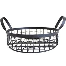 Creative Wrought Iron Storage Basket Metal Household Desktop Snack Bread Binaural Fruit Candy Debris Bask