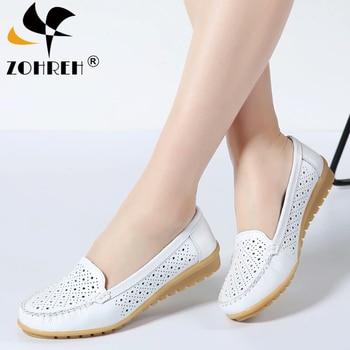 цена на Autumn Women Flats Shoes Women Genuine Leather Shoes Woman Cutout Loafers Slip On Ballet Flats Ballerines Flats Moccasins Big Si