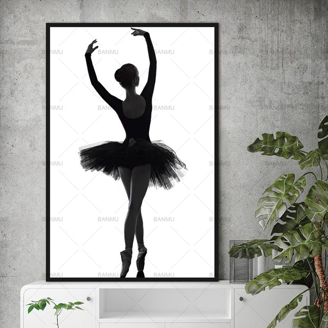 Nordic Black And White Poster Art Decoration Picture Ballet Dancer Modern Canvas Painting Wall Art For Living Room Without Frame