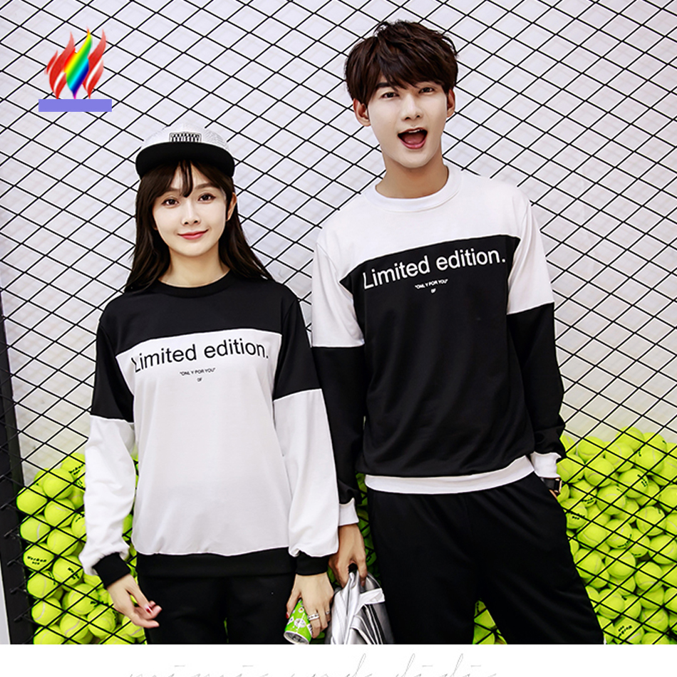 0aeca0eeb08e Couples Clothes Lovers Fall Autumn Tops Designer Women Casual Letter  Printed T Shirt Preppy Style Korean Matching Couple T Shirt-in T-Shirts  from Women's ...