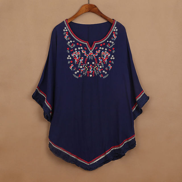 2017 vintage 70s mexican ethnic floral embroidered loose shirt 2017 vintage 70s mexican ethnic floral embroidered loose shirt tops batwing boho hippie blouse blusa femininas sciox Image collections