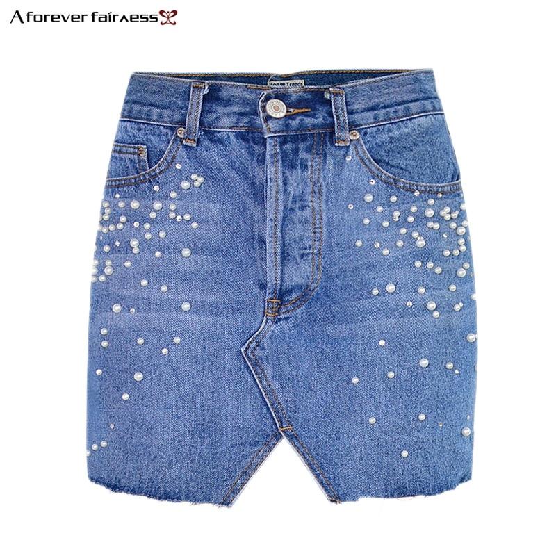 A Forever Spring Pearl Beads Denim Skirts Women Fashion Streetwear Irregular Hem With Fringe Pencil Skirt Jean Women Skirt Юбка
