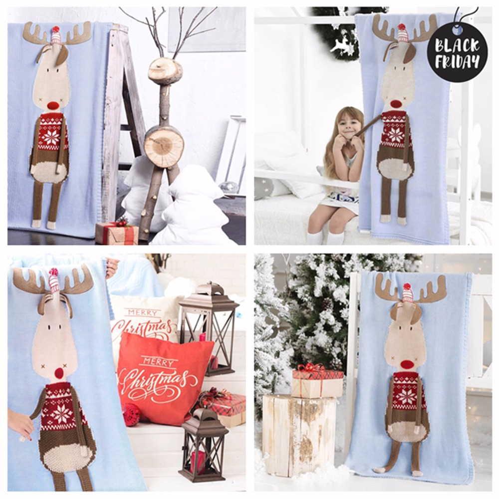 Christmas Deer Elk Print Blanket Stereo Ear Blankets Warm Children Crochet Knit Beach Mat Towel Xmas Baby Blanket Drop Shipping christmas elk print polyester waterproof shower curtain