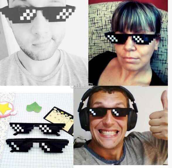 8 بت MLG نظارات Pixelized ماركة نظارات النساء الرجال البلطجة الحياة نظارة حفلات نظارات فسيفساء خمر