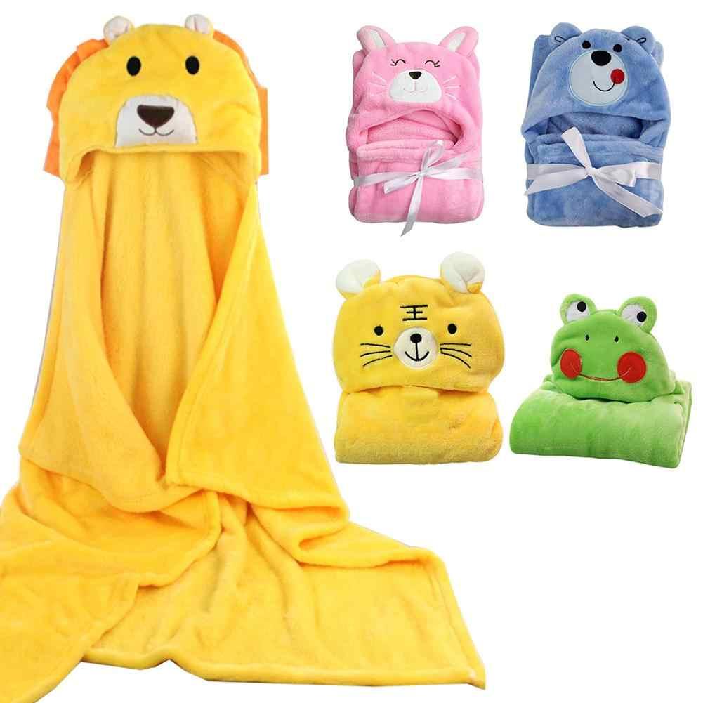 Flanel Baby Badhanddoek Pasgeboren baby handdoek Cartoon Winter Warm Flanel Deken Winddicht Hooded Mantel Jas Inbakeren Baby Deken